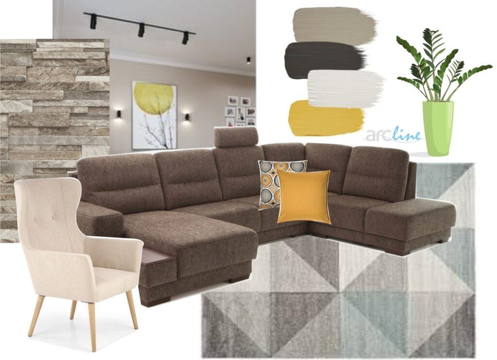 Moodboard - návrh obývačky vrodinnom dome
