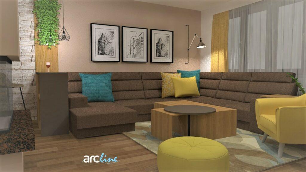 Návrh obývačky - vizualizácia so žltými doplnkami